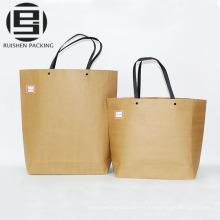 Bolso de papel marrón de la cesta de la manija del lazo