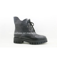 Casual European Low Heel Leather Ladies Rubber Boots