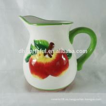 Jarra de leche de manzana de cerámica de venta caliente