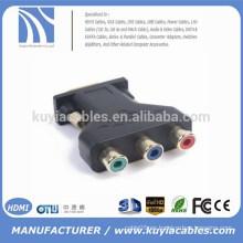 VGA masculino de 15pin a 3 rca adaptador femenino del divisor para el proyector del monitor de la PC