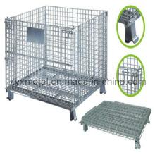 1.2X1.0m Armazenamento dobrável dobrável Logistic Trolley Roll Wire Mesh Storage Cage