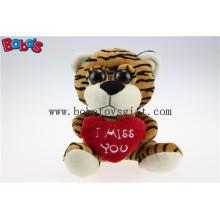 """5.9 """"Plush Tiger olhos grandes brinquedo com travesseiro de coração para Dia dos Namorados Bos1177"""