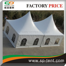 Double peaked white aluminum PVC 5mx10m pagoda Marquee for sale combined by rain gutters