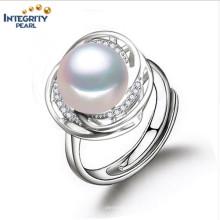 Perlen-Ring-Entwürfe für Frauen 10-11mm AAA-Brot-runder europäischer Ring-Hochzeits-Ring-Perlen-Ring
