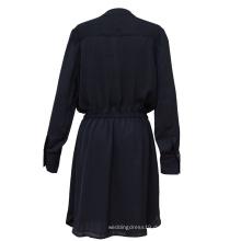 Frauenkleid Langarm Pure Color Kleid