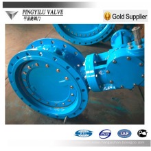 Soft sealing blue ductile iron flange butterfly valve