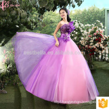 Latest Design Bride Gorgeous Lace Appliqued Strapless Floor Length Tulle Puffy Ball Gown Light Purple Wedding Dress