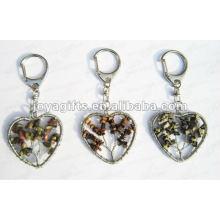 Llavero de la piedra preciosa de la forma del corazón, keyrings pendientes de la piedra preciosa, piedra llavero