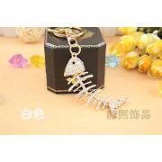 Creative cute fish bones crystal Keychain men and women handbags accessories rhinestone metal key chain gold plated fashion