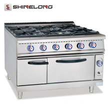 Commercial Efficient Burner Parts For Gas Stoves With 6 Burners Stainless Steel Gas Range