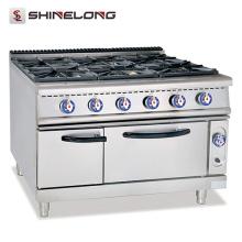 Peças de queimador eficiente comercial para fogões a gás com fogão de aço inoxidável de 6 queimadores