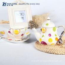 Conjunto turco de café al por mayor, juego de café de cerámica con chapado en oro