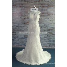 A wholesale high neckline mermaid beaded on waistband wedding dress