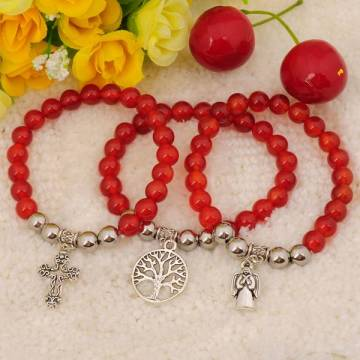 Natural Red Carnelian Bracelet Gemstone jewelry alloy pendants