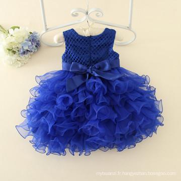 Enfants vêtements fleur filles bleu foncé fête de noël mariage bébé filles marine robes mode nouveaux designs en gros de haute qualité