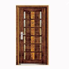 Diseños de puerta blindada superficie madera esqueleto de acero