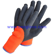7 Gauge Acrylic Liner, Extra Thick Terry Knitted & Brushed, Latex Coating, 3/4, Sandy Finish Safety Gloves