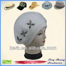 Sombrero del pelo del conejo / sombrero de piel / sombrero de las lanas de la manera con los sombreros de piel de la flor forman los sombreros de las lanas, LSA44