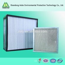 Filtro de fibra de vidrio HEPA para laboratorio con malla / Rejilla de filtro de alta eficiencia / Caja de filtro de alta eficiencia