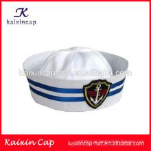 promoción de venta por mayor caliente personalizado diseño de la venta de su propio logotipo de alta calidad logotipo bordado barato sombrero de capitán marinero de la marina de guerra