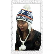Nuevo invierno Jacquard señora Earflap hecho punto sombrero con bolas (1-3509)