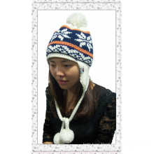 New Winter Jacquard Lady Earflap Knitted Hat with Balls (1-3509)