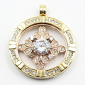 Custom Made 316L Stainless Steel Fashion Locket Pendant with Clear Stones