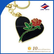 Special Design Custom Heart Shaped Flower Gifts Keychain for Lovers