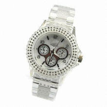 Plastic Watch with White Color and Japan Quartz Movement, Fancy, Stylish and Beautiful