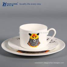 Animal Design Cartoon Style Flat Porcelain Dinner Plates, Fine Bone China Tableware Manufacturer