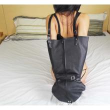 PVC de cuero de bloqueo trasero Armbinder bloqueable solo guante Sm mujeres brazo guante de espalda Bondage