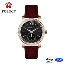 Factory OEM Rose Gold Ladies Slim Stone Watch for Women