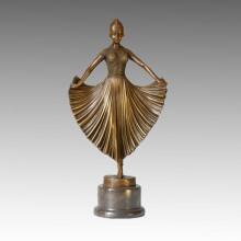 Danseuse Bronze Sculpture Jupe Décoration fille Statue en laiton TPE-039