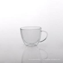 Tasse à café en verre à double paroi avec poignée en borosilicate
