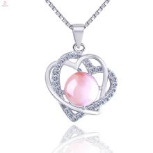 Bijoux de collier de pendentif de coeur d'argent sterling 925 pour la femelle