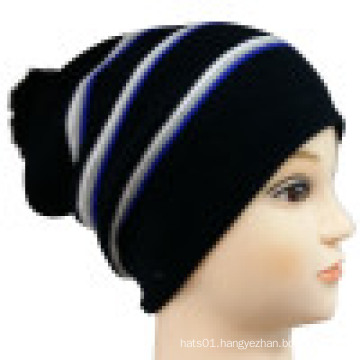 Knitted Beanie with Striped Design NTD1648