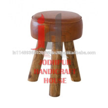 Industrial Leather/Canvas Wooden Round Stool