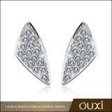 AAA Cubic Zircon Micro Pave Feather Shaped Statement Women Silver Jewelry Stud Earrings