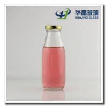 300ml Round Glass Milk Bottle with Metal Lids