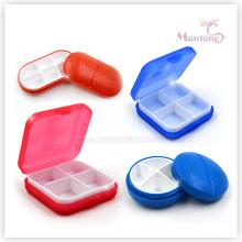 Boîte à pilules en plastique ovale 4 grilles
