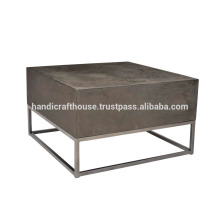 Industrial Wooden and Metal Base Coffee Table