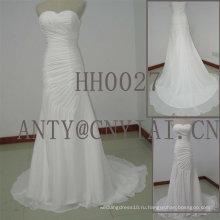 Пляж HH0027 Плиссированные шифон свадебное платье