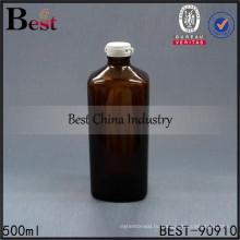 пустой Янтарь 500мл квадратная стеклянная бутылка оснастки медицинского использования крышки бутылки бесплатная образцы