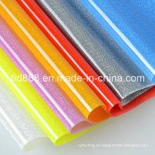 Brillante hoja rígida de PVC transparente para la decoración de la ropa de moda