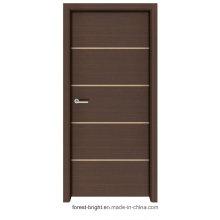 Porta da melamina da madeira maciça do estilo do abanador com tiras de metal