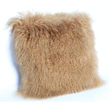 Almofada de pele de cordeiro Mongolian de cabelos longos curly