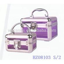 Organizador de acrílico del maquillaje claro casos cosméticos caja 2 en 1