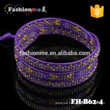 excellente qualité infini manchette bracelet avec une corde de cuir sur le bord
