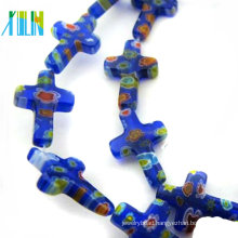 wholesale colorful crystal millefiori cross glass beads