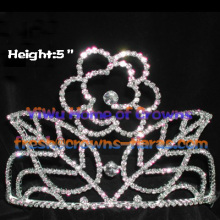 Crystal Rhinestone Crowns With Rose In The Middle Of